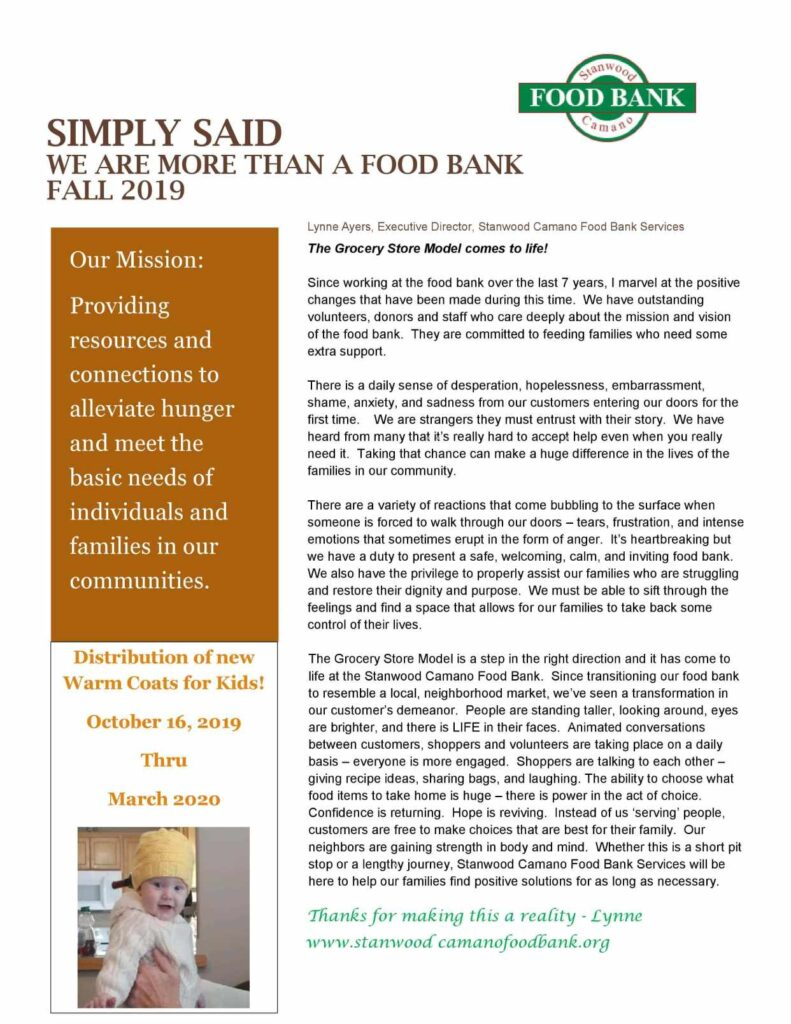 We Are More than a food bank fall 2019